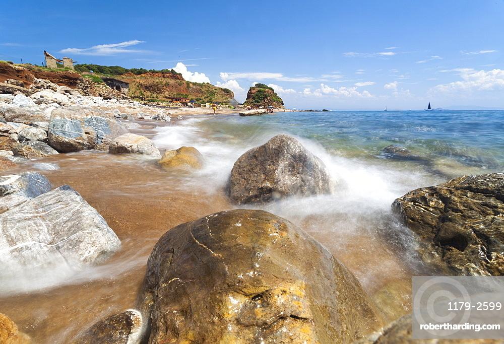 Waves crashing on rocks, Cala Seregola, Capo Pero, Elba Island, Livorno Province, Tuscany, Italy