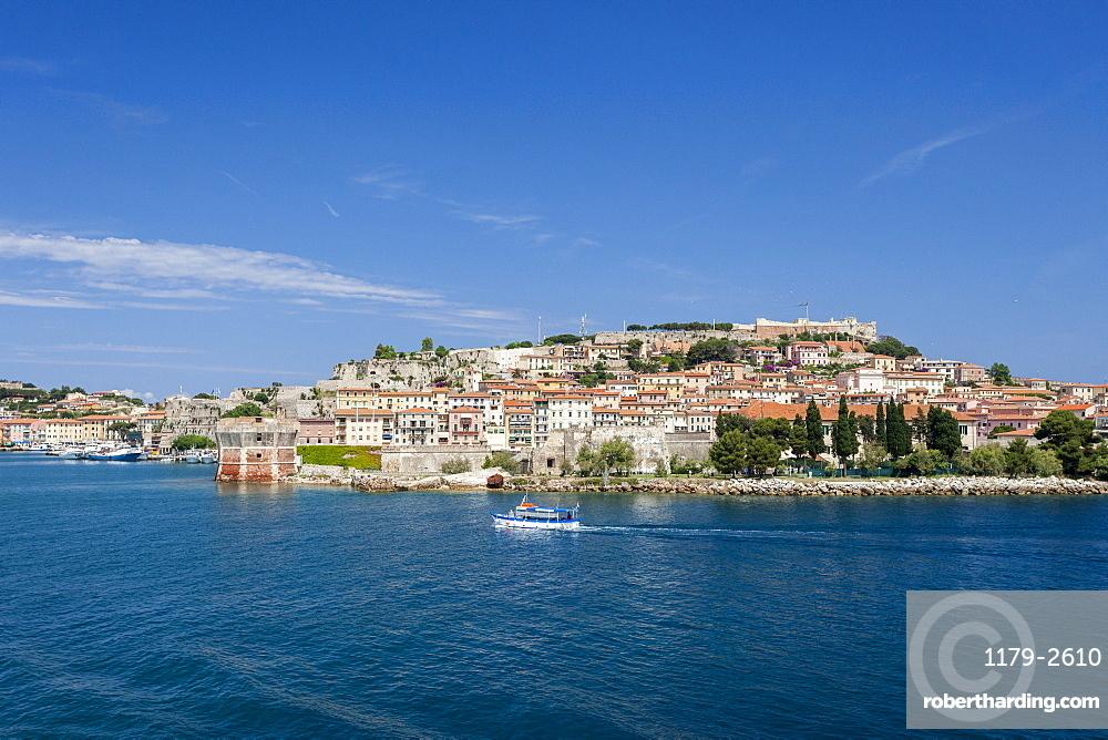 Historical Torre Della Linguella overlooking sea, Portoferraio, Elba Island, Livorno Province, Tuscany, Italy, Europe