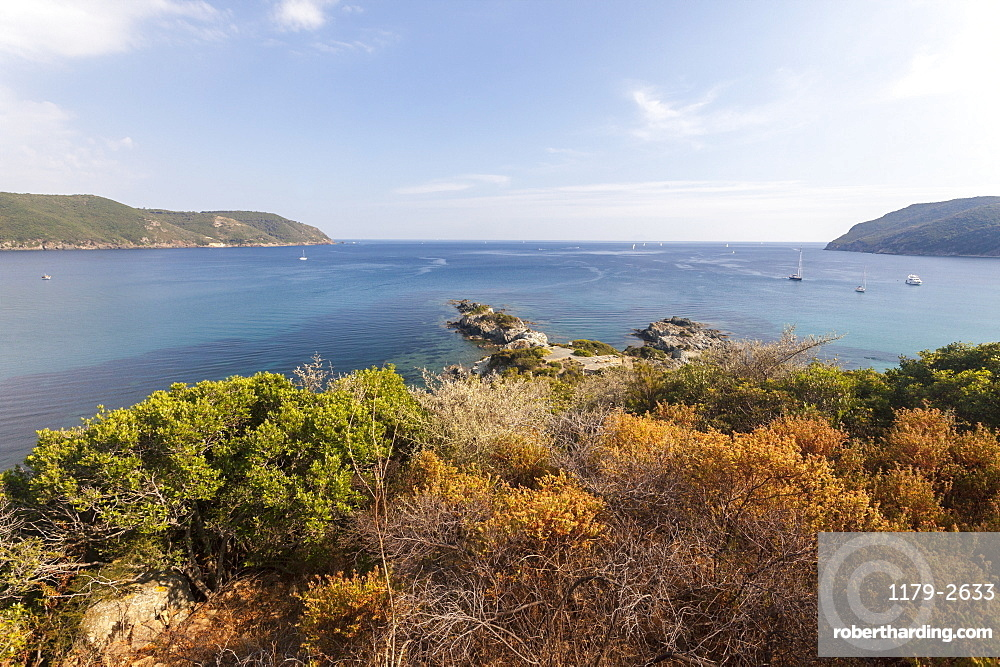 View of blue sea from inland, Lacona, Capoliveri, Elba Island, Livorno Province, Tuscany, Italy, Europe