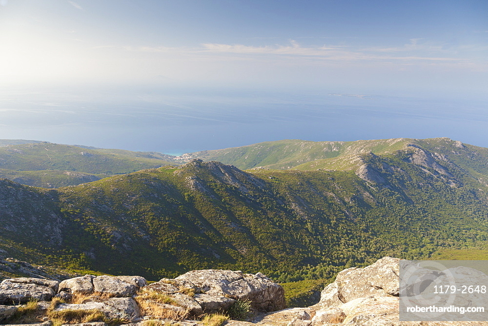 View of the sea on the way to Monte Capanne, Elba Island, Livorno Province, Tuscany, Italy, Europe