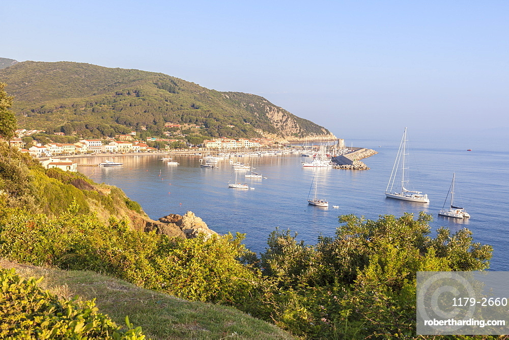 Sailboats in the old harbor, Marciana Marina, Elba Island, Livorno Province, Tuscany, Italy, Europe