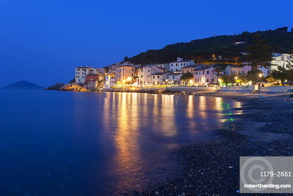 The old village of Marciana Marina at dusk, Elba Island, Livorno Province, Tuscany, Italy, Europe