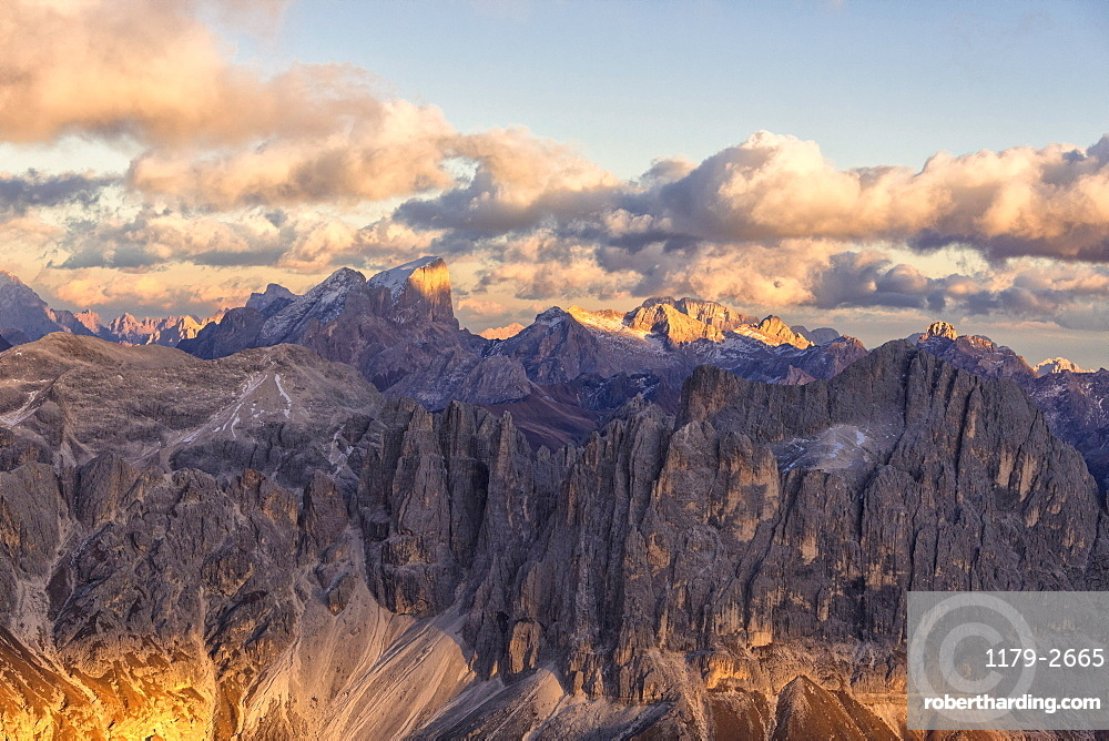 Aerial view of Catinaccio Group (Rosengarten), Torri Del Vajolet, Marmolada, Dolomites, South Tyrol, Italy, Europe