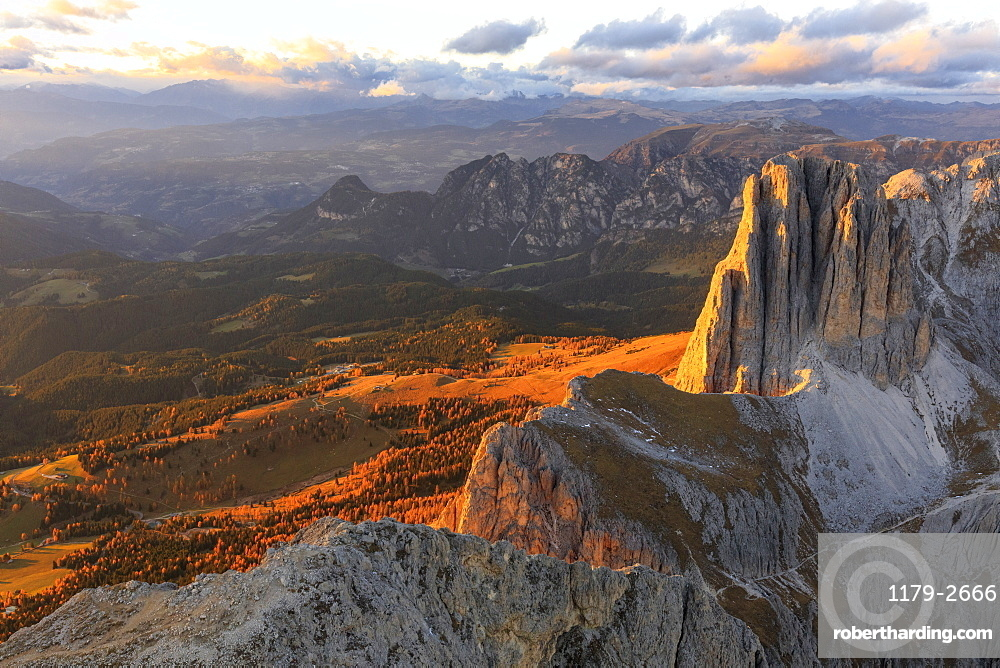 Aerial view of Catinaccio Group (Rosengarten) at sunset, Dolomites, South Tyrol, Italy