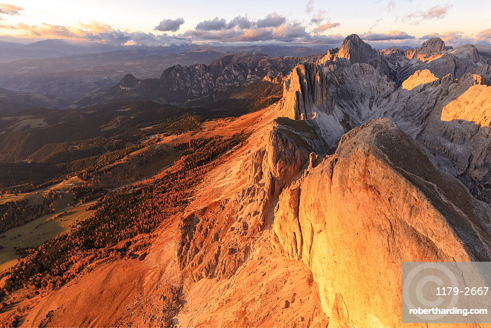 Aerial view of Roda Di Vael at sunset, Catinaccio Group (Rosengarten), Dolomites, South Tyrol, Italy, Europe