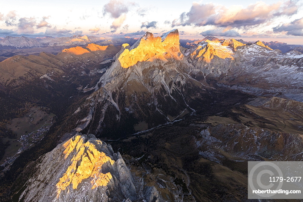 Aerial view of Colac, Gran Vernel, Marmolada and Val Contrin, Dolomites, Trentino Alto Adige, Italy