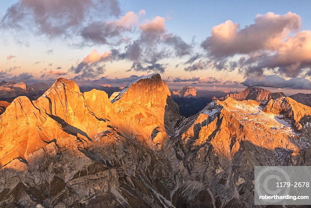Aerial view of Marmolada, Gran Vernel, Sasso Vernale and Cima Ombretta, Dolomites, Trentino Alto Adige, Italy