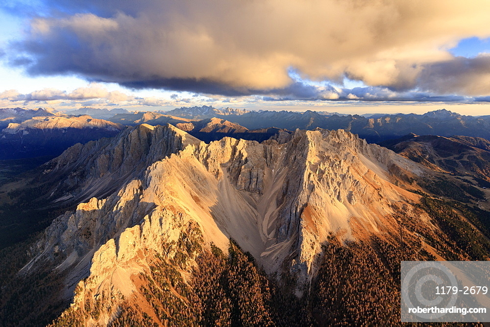 Aerial view of the rocky peaks of Latemar at sunset, Dolomites, South Tyrol, Italy