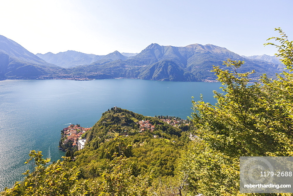 Castello di Vezio above the village of Varenna, Lake Como, province of Lecco, Italian Lakes, Lombardy, Italy, Europe