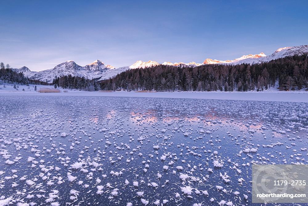 Ice crystals, Lej da Staz, St. Moritz, Engadine, Canton of Graubunden (Grisons), Switzerland, Europe