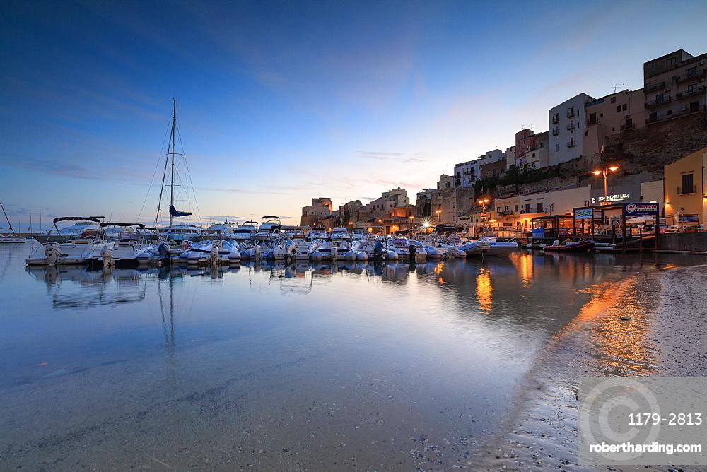 Harbor at sunrise, Castellammare del Golfo, province of Trapani, Sicily, Italy, Mediterranean, Europe