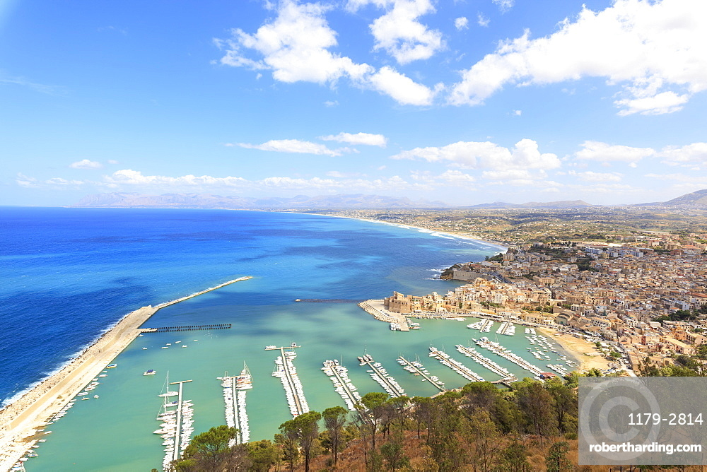 Elevated view of harbor and city of Castellammare del Golfo, province of Trapani, Sicily, Italy, Mediterranean, Europe