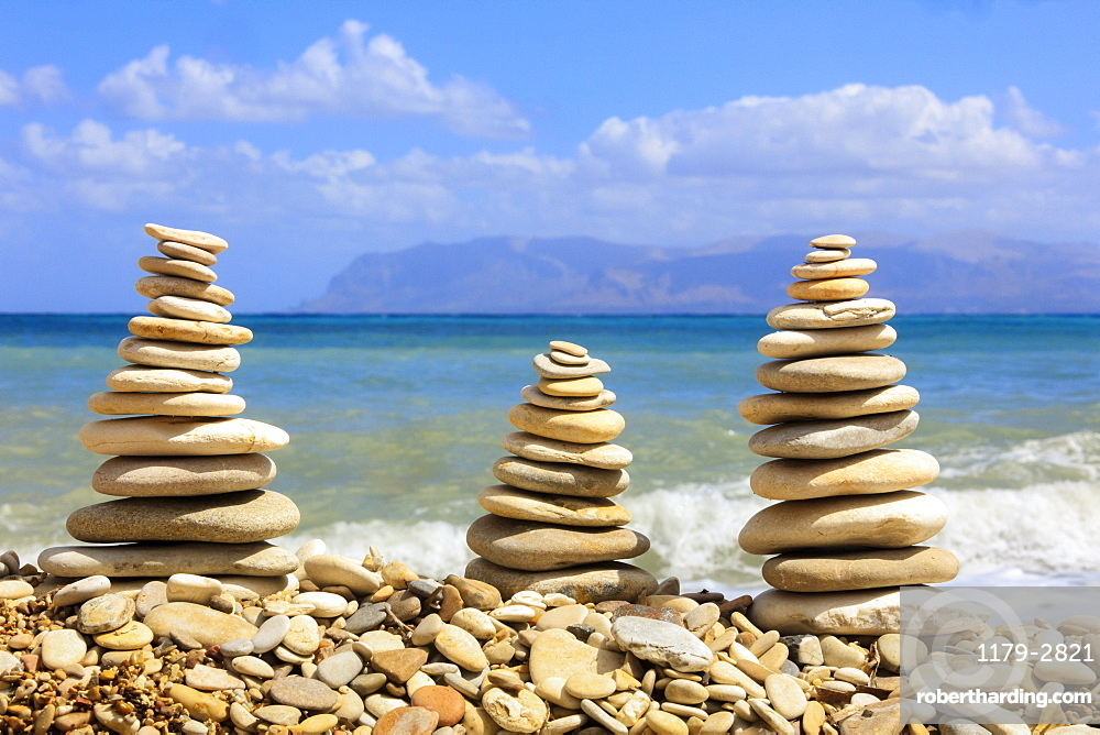 Sculptures of stones on beach, Castellammare del Golfo, province of Trapani, Sicily, Italy
