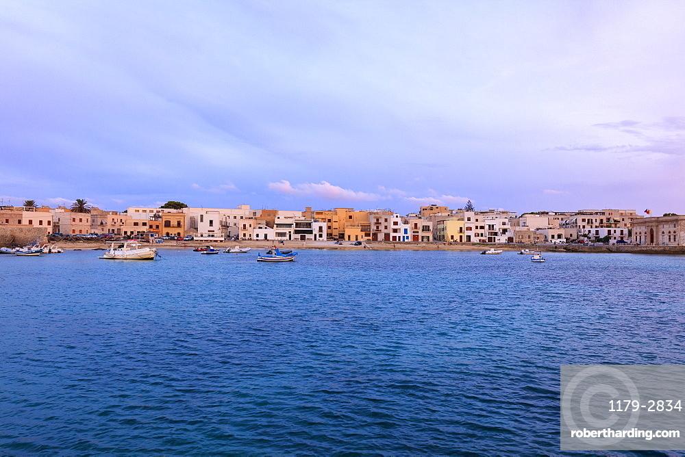 Harbor at dusk, Favignana island, Aegadian Islands, province of Trapani, Sicily, Italy, Mediterranean, Europe