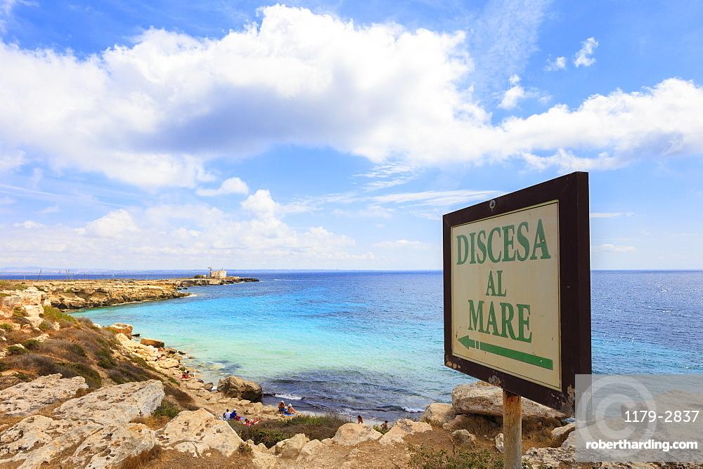 Cala Azzurra, Favignana island, Aegadian Islands, province of Trapani, Sicily, Italy, Mediterranean, Europe
