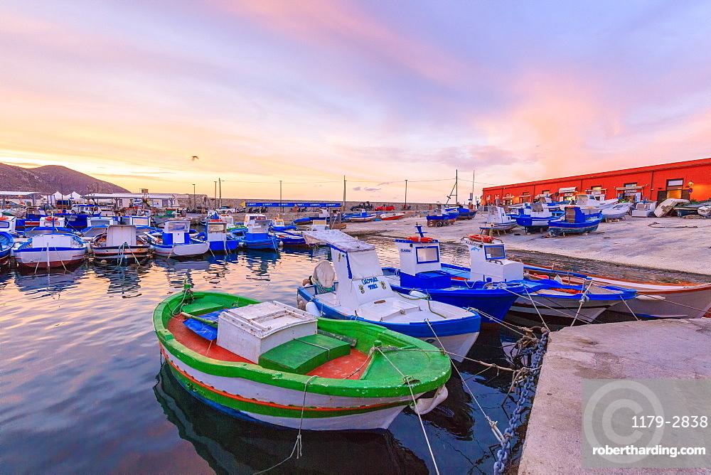 Fishing boats at the harbor, Favignana island, Aegadian Islands, province of Trapani, Sicily, Italy