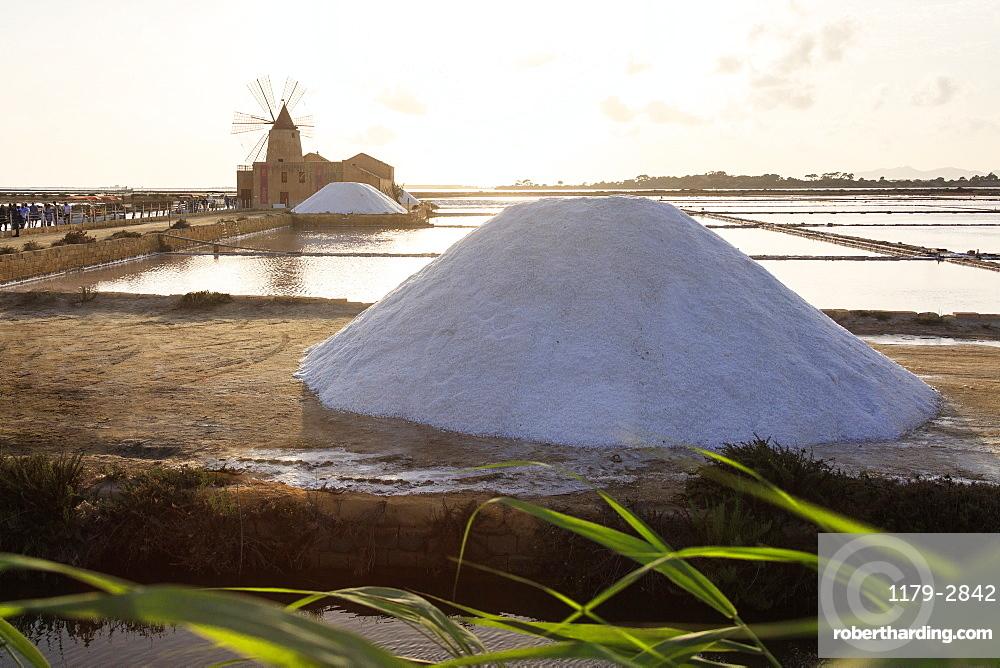Piles of salt at Saline Ettore e Infersa, Saline Della Laguna, Marsala, province of Trapani, Sicily, Italy