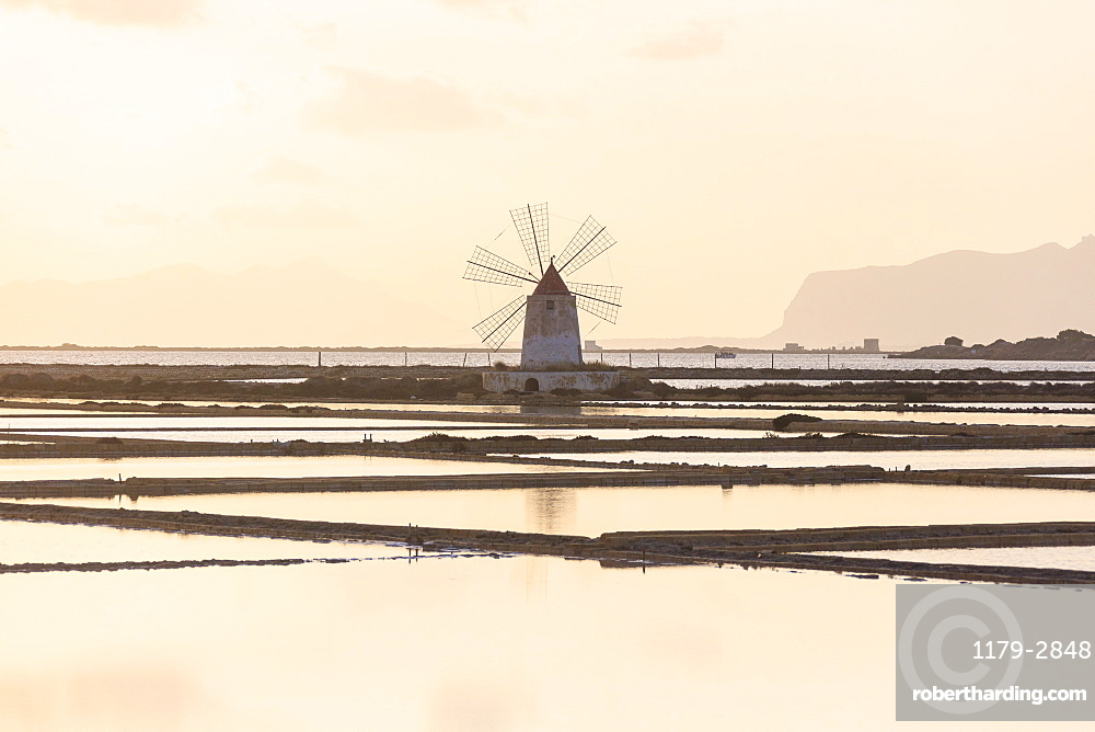 Windmill in the salt flats, Saline dello Stagnone, Marsala, province of Trapani, Sicily, Italy, Mediterranean, Europe