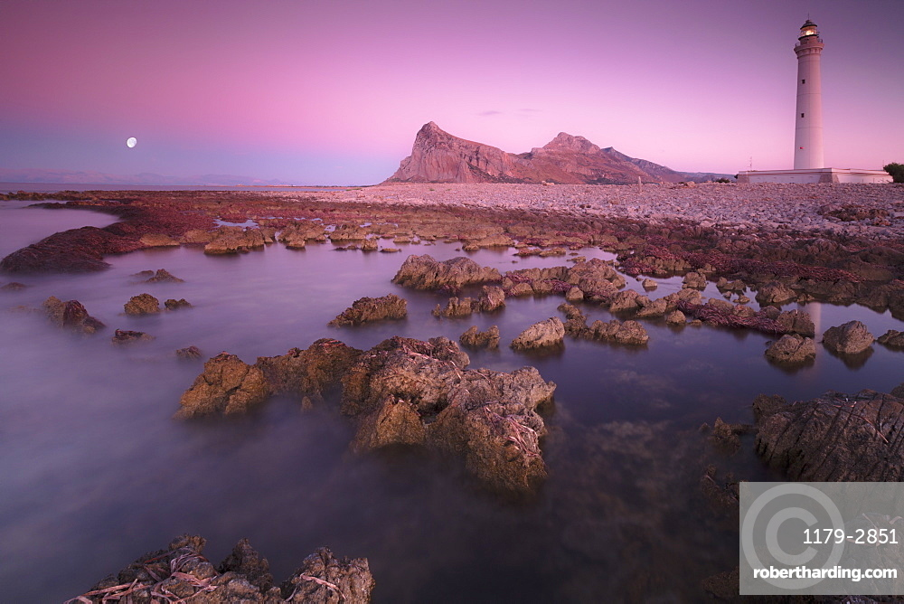Lighthouse at sunset, San Vito Lo Capo, province of Trapani, Sicily, Italy, Mediterranean, Europe