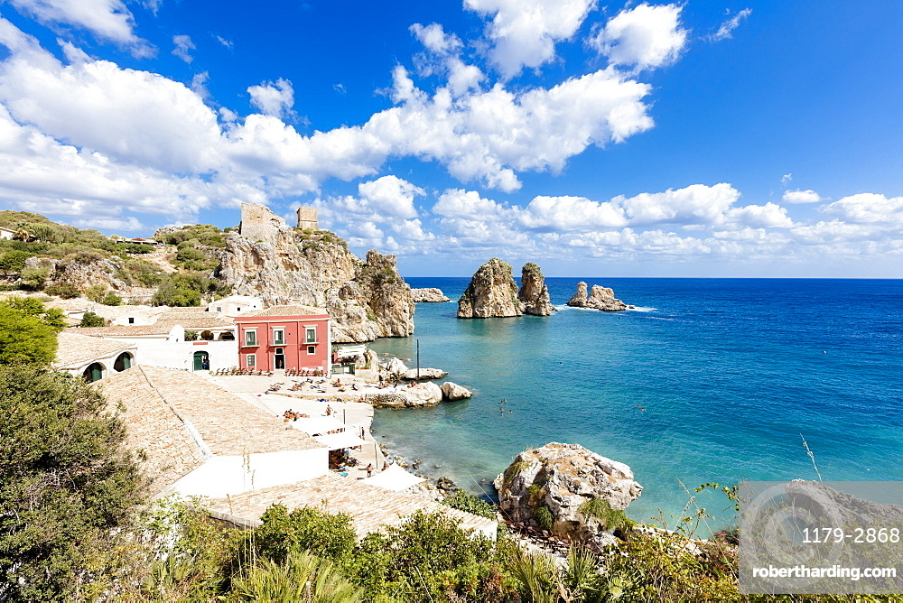 Historic hamlet of tuna fishery, Tonnara di Scopello, Castellammare del Golfo, province of Trapani, Sicily, Italy, Mediterranean, Europe
