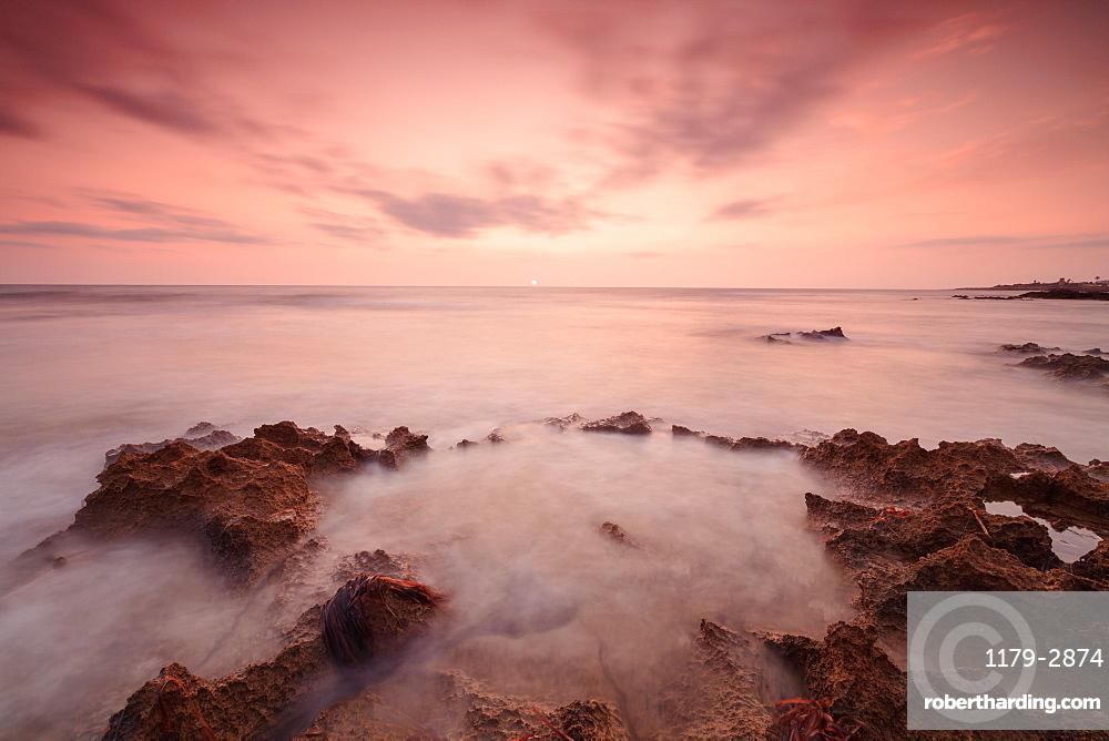 Sunset, Capo Granitola, Campobello di Mazara, province of Trapani, Sicily, Italy, Mediterranean, Europe