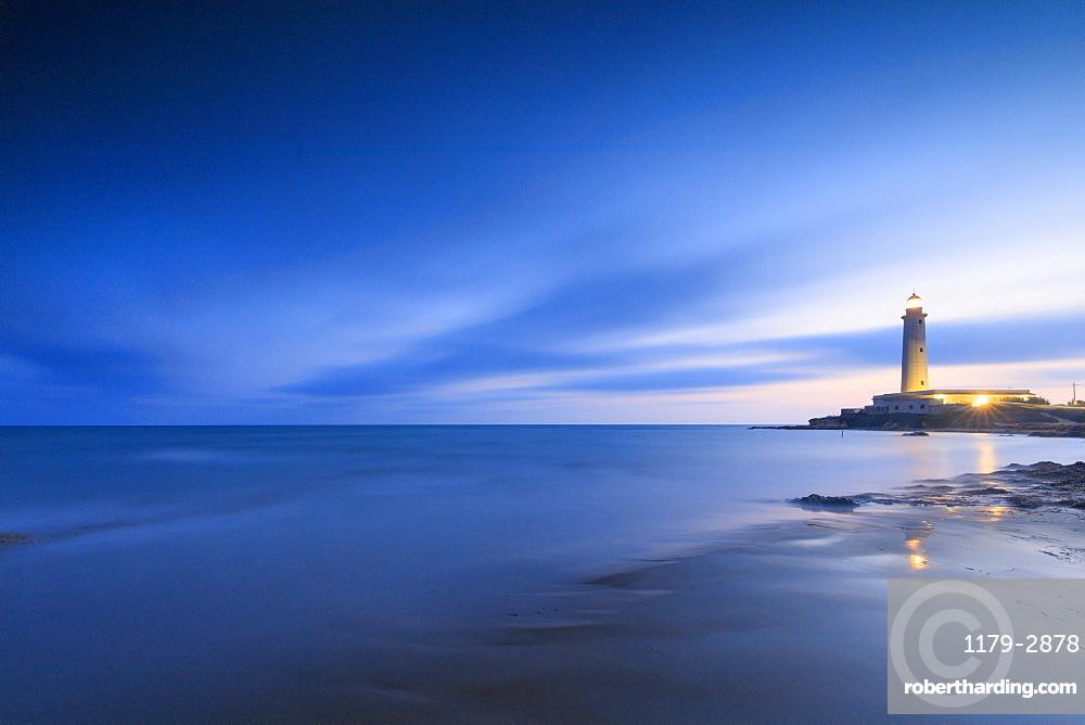 Lighthouse at dusk, Capo Granitola, Campobello di Mazara, province of Trapani, Sicily, Italy
