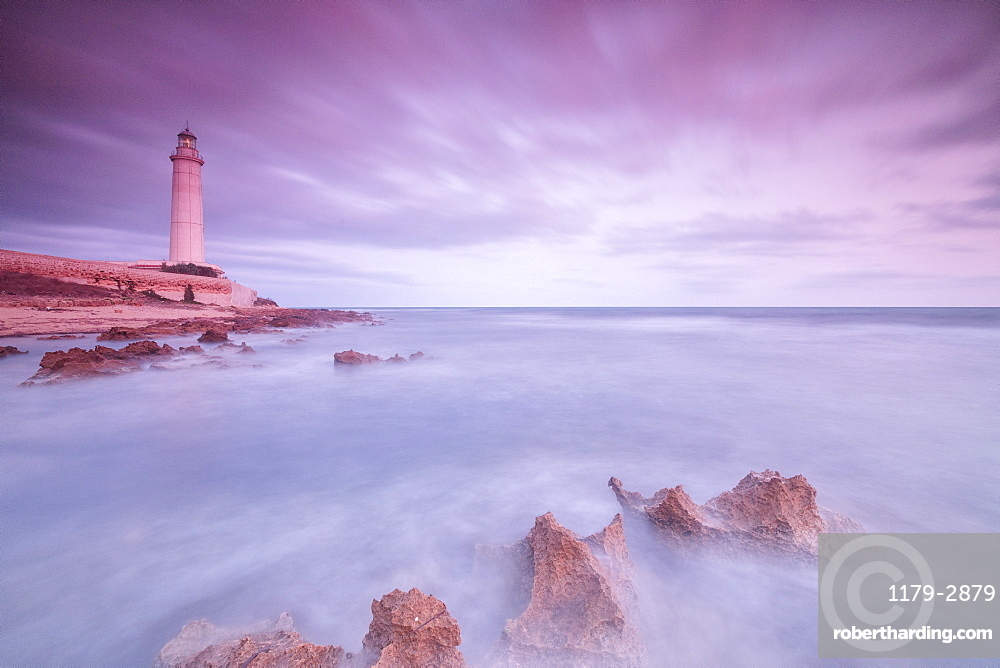 Lighthouse at sunset, Capo Granitola, Campobello di Mazara, province of Trapani, Sicily, Italy, Mediterranean, Europe