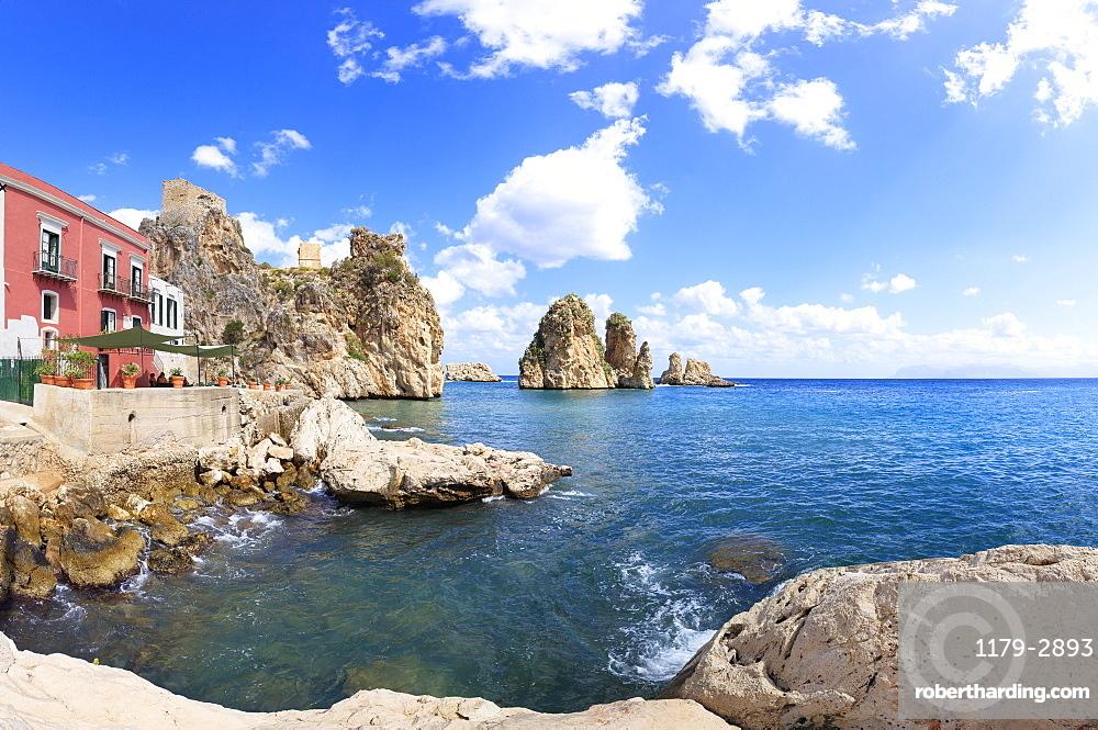 Panoramic of Tonnara di Scopello, Castellammare del Golfo, province of Trapani, Sicily, Italy, Mediterranean, Europe