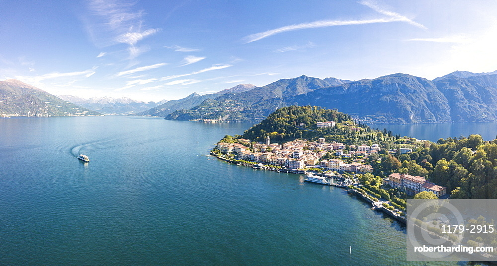 Panoramic aerial view of Lake Como and the village of Bellagio, Province of Como, Lombardy, Italian Lakes, Italy, Europe (Drone)