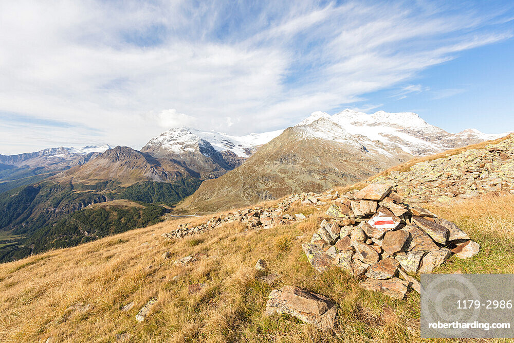 View of Poschiavo Valley from Piz Campasc, Bernina Pass, Engadine, canton of Graubunden, Switzerland, Europe