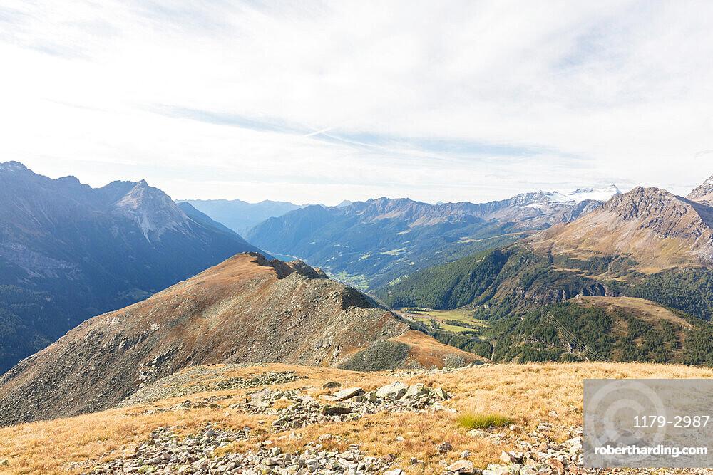 Overview of Poschiavo Valley from Piz Campasc, Bernina Pass, Engadin, canton of Graubunden, Switzerland