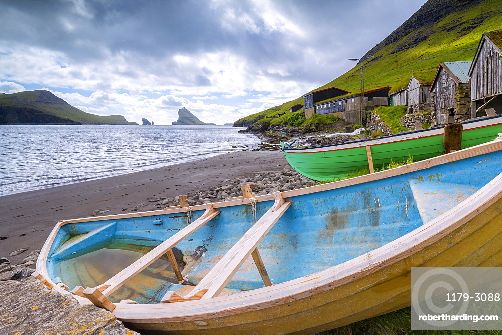 Boats on the beach, Bour, Vagar Island, Faroe Islands, Denmark, Europe