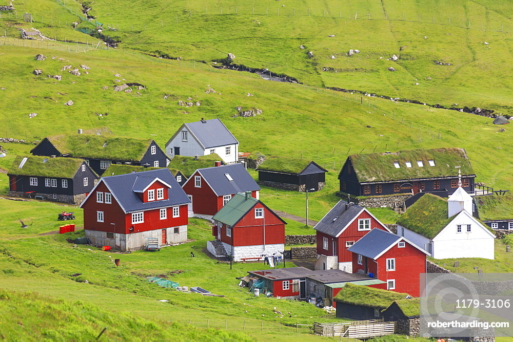 Traditional village of Mykines, Mykines Island, Faroe Islands, Denmark, Europe