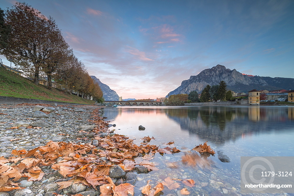 Sunrise on River Adda, Lecco, Lombardy, Italy, Europe