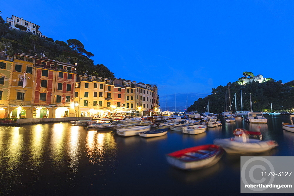 Harbour of Portofino at dusk, province of Genoa, Liguria, Italy, Europe