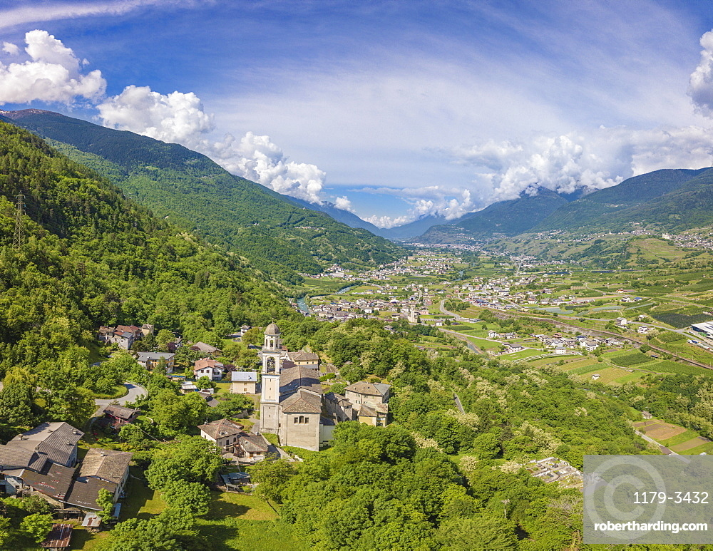 Aerial view of village of Sazzo, Ponte In Valtellina, Sondrio province, Lombardy, Italy, Europe