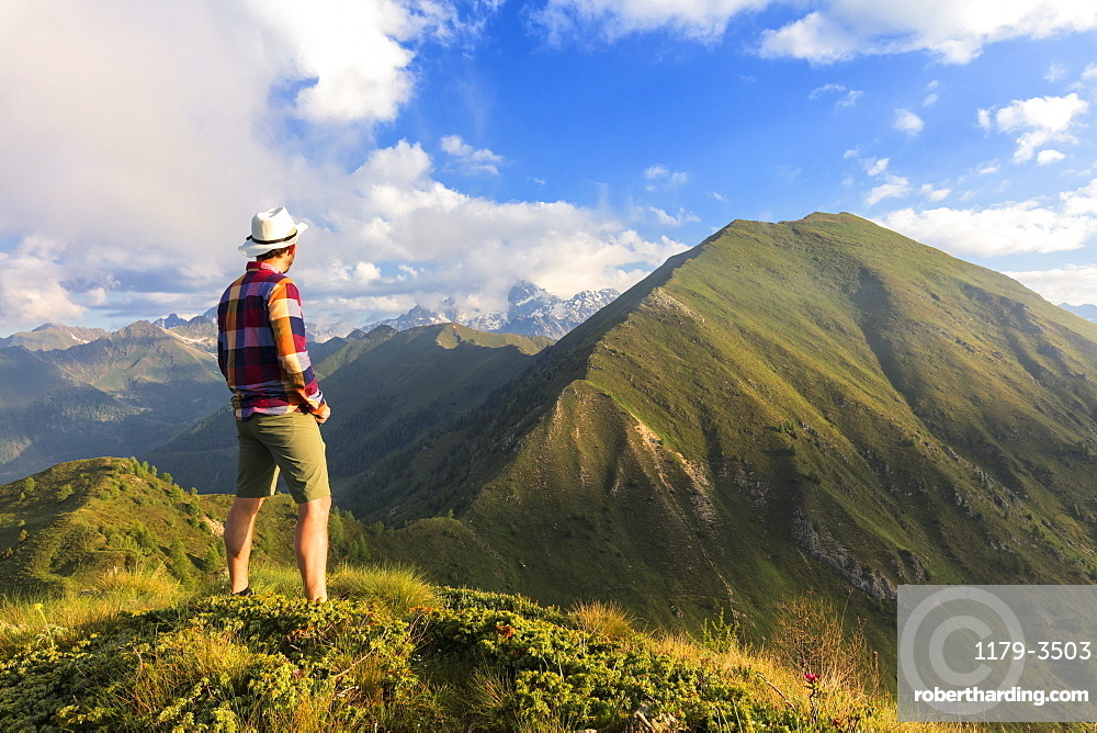 Man on top of Monte Rolla looks to Monte Disgrazia and Sasso Canale, Sondrio province, Valtellina, Lombardy, Italy, Europe