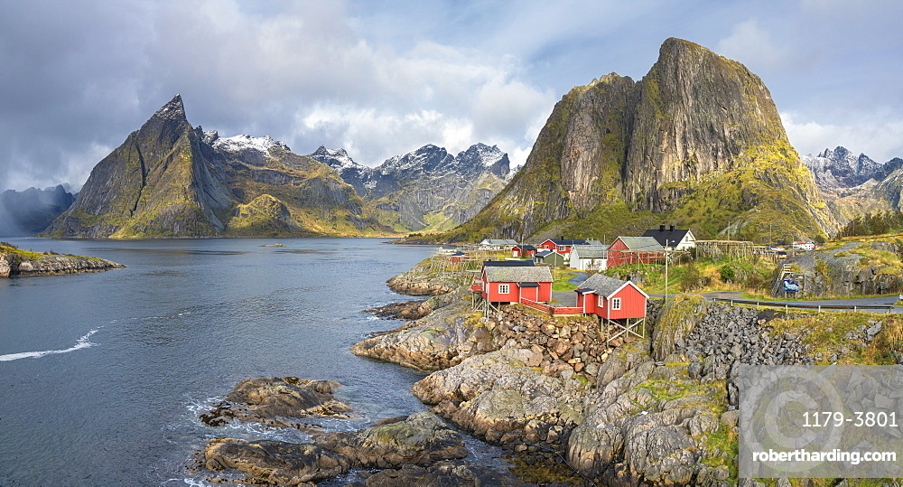 Town of Hamnoy by mountains in Moskenes, Norway, Europe