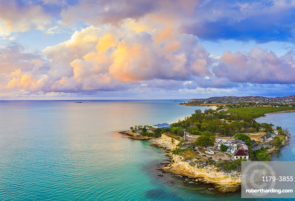 Aerial panoramic by drone of Fort James, St. John's, Antigua, Leeward Islands, West Indies, Caribbean, Central America