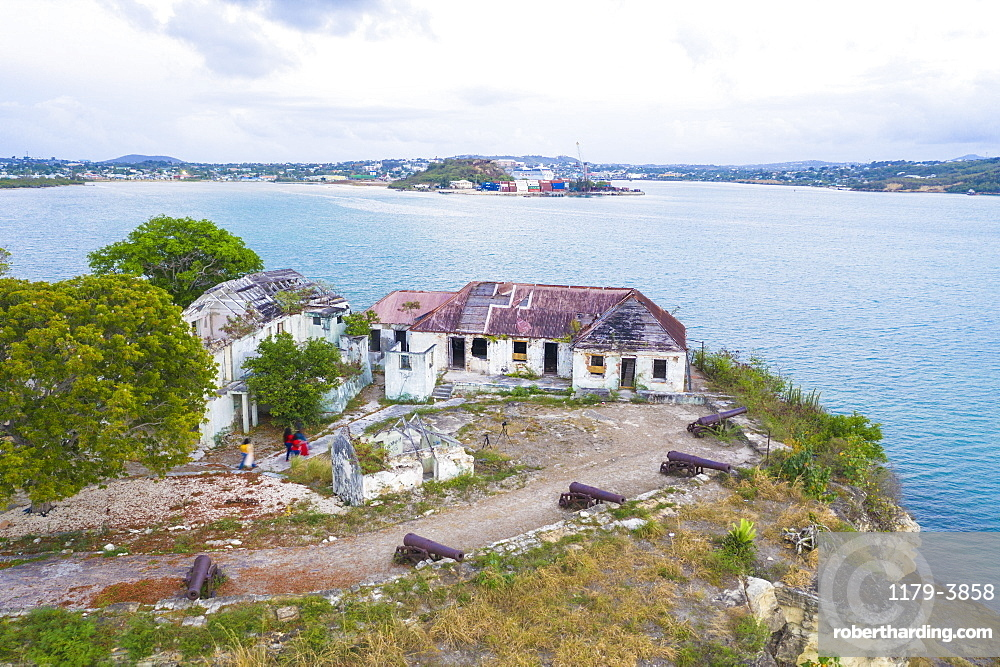 Aerial view of ruins of buildings at Fort James, St. John's, Antigua and Barbuda, Leeward Islands, West Indies, Caribbean, Central America