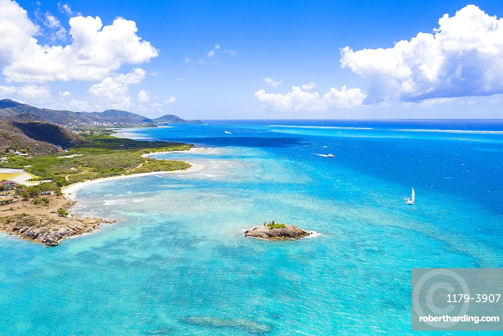 Aerial view by drone of the crystal Caribbean Sea, Urlings, Antigua, Antigua and Barbuda, Leeward Islands, West Indies, Caribbean, Central America