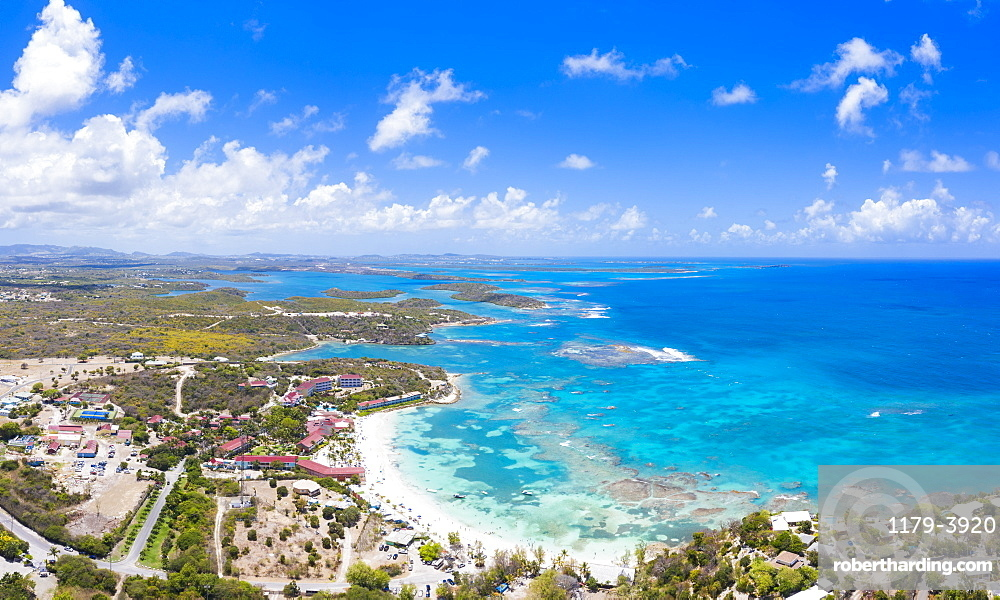 Aerial panoramic by drone of coral reef along Long Bay beach, Antigua, Antigua and Barbuda, Leeward Islands, West Indies, Caribbean, Central America