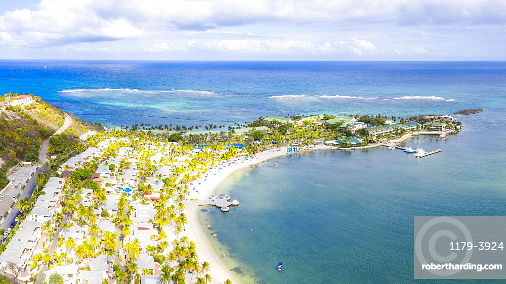 Aerial panoramicby drone of palm-fringed beach, St. James Bay, Antigua, Leeward Islands, West Indies, Caribbean, Central America