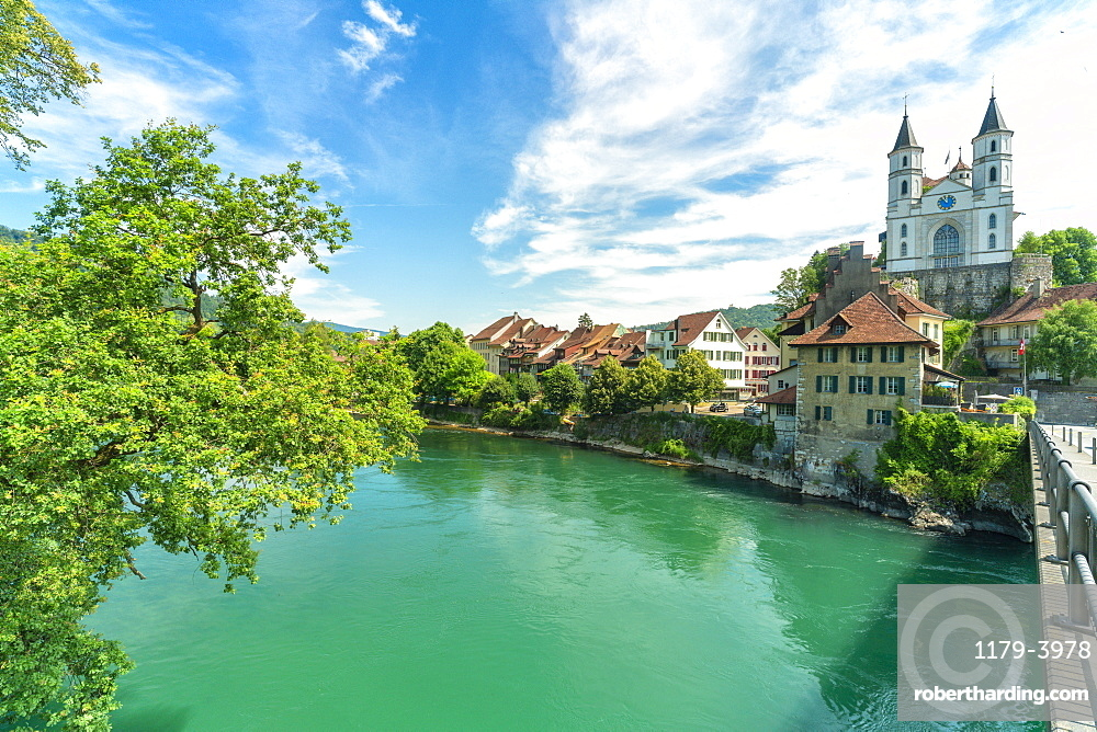 Neo-Gothic church on hilltop along Aare river, Canton??? ???Aargau, Switzerland