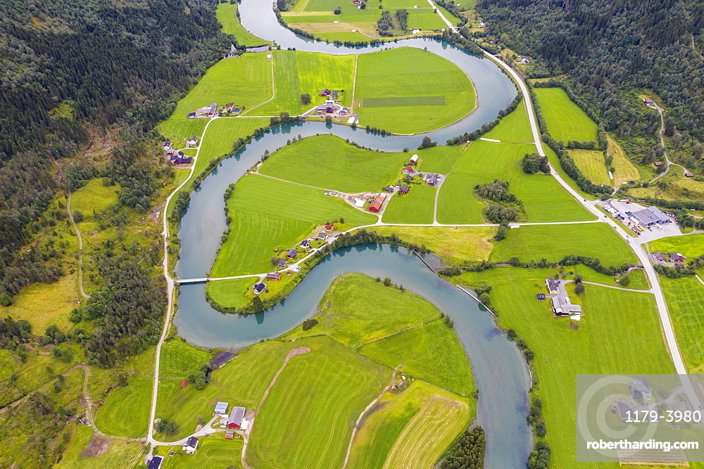 Aerial view of the winding course of Stryneelva river, Stryn, Nordfjorden, Sogn og Fjordane county, Norway