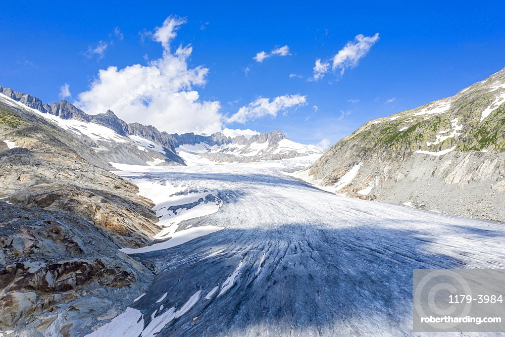 Ice tongue of Rhone Glacier in summer, Gletsch, Canton of Valais, Switzerland