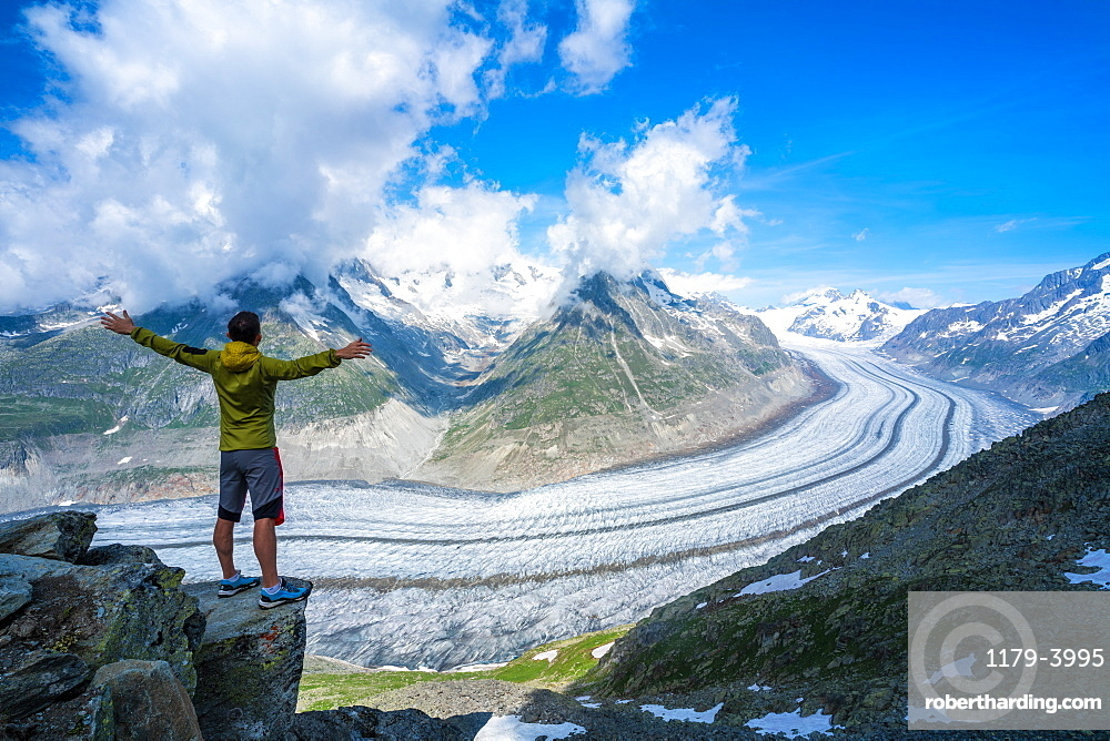 Man exulting with outstretched arms looking at Aletsch Glacier from Eggishorn viewpoint, Bernese Alps, canton of Valais, Switzerland
