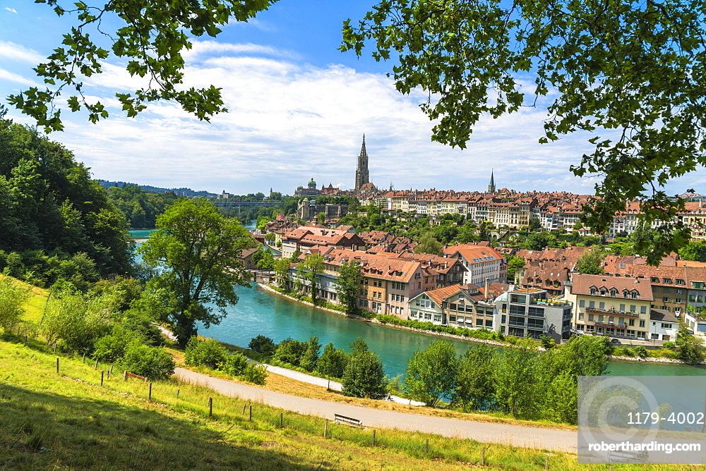Buildings of the old Schwarzes Quartier on banks of Aare River, Bern, Canton Bern, Switzerland