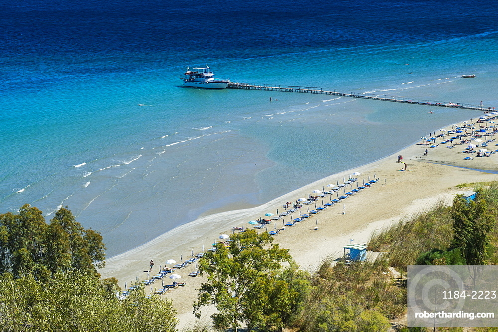 View over Apraos Beach, northern Corfu, Ionian islands, Greek Islands, Greece, Europe