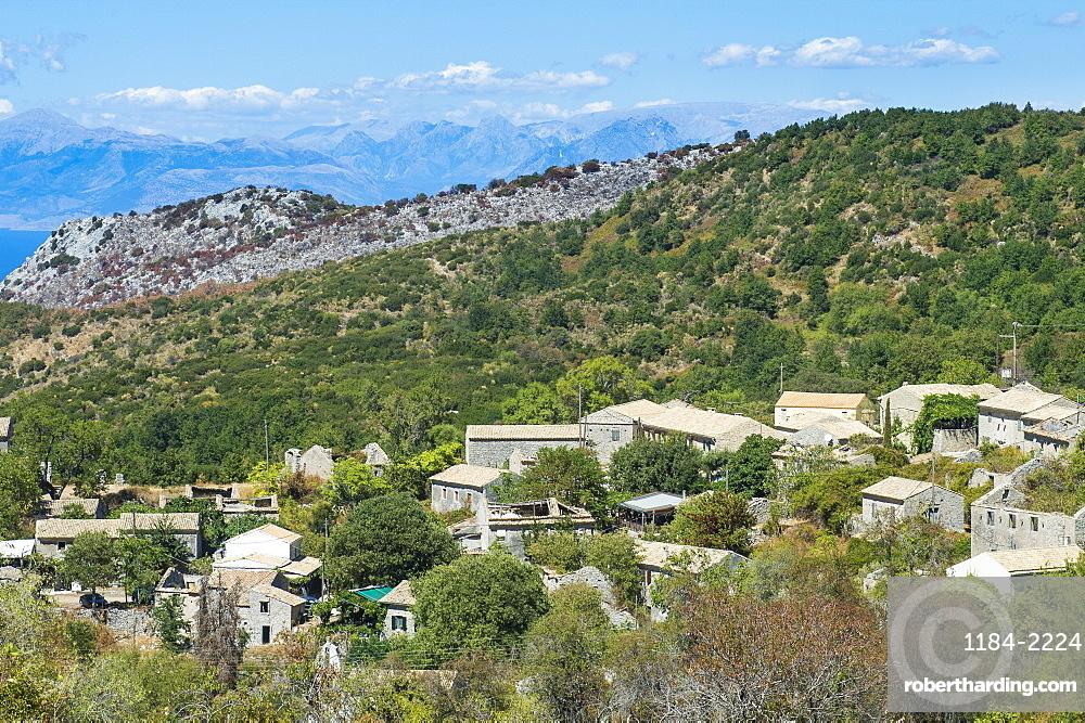 The mountain village of old Perithia, Corfu, Ionian islands, Greek Islands, Greece, Europe